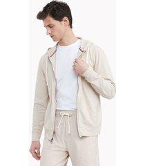 tommy hilfiger men's essential stretch pique cotton hoodie beige heather - xl