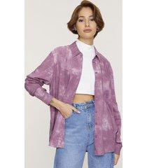 blusa manga larga oversize rosado tie dye  corona