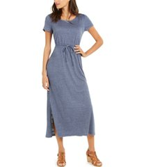 style & co plus size textured drawstring maxi dress, created for macy's