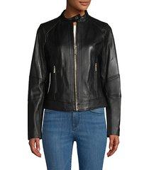 full-zip leather jacket