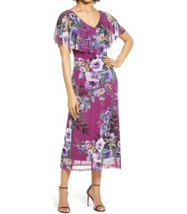 connected apparel flutter sleeve v-neck midi dress, size 14 in plum at nordstrom