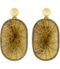 marquetry water lily earrings