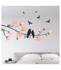 adesivo de parede cerejeira e pássaros