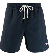 maison kitsuné canvas swim shorts - blue