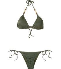brigitte embellished triangle bikini set - green