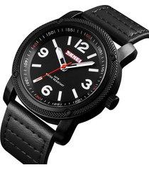vigilanza impermeabile dell'orologio del quarzo degli uomini di modo di grande numero della vigilanza di cuoio semplice di affari
