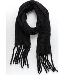 nina cozy fringe scarf - black