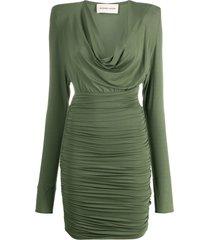 alexandre vauthier structured shoulder dress - green