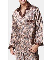 uomo pigiama a 2 pezzi in seta a bavero morbido