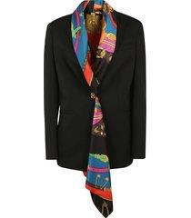 versace scarfed detail single-button blazer