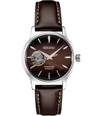 seiko women's presage automatic brown leather strap watch 33.8mm