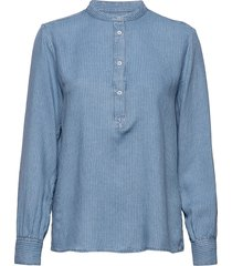 blouse, stand up collar, long sleev blouse lange mouwen blauw marc o'polo