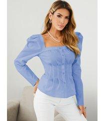 botón yoins diseño plisado diseño cuadrado cuello blusa de manga larga