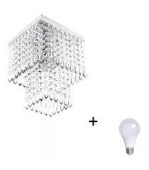 lustre de cristal acrilico marrycrilic com lâmpada 3000k (br