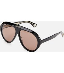 gucci men's aviator style sunglasses - black/brown