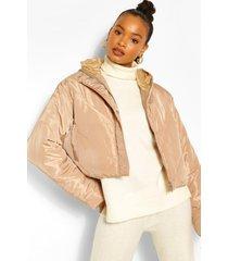 korte gewatteerde jas met panelen en capuchon, beige