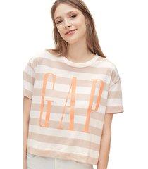 camiseta beige-blanco-coral gap