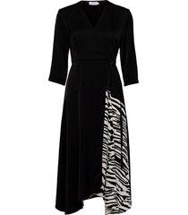3/4 slv wrap dress dresses everyday dresses svart calvin klein