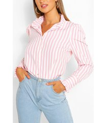 stripe cotton ruffle neck shirt, pink