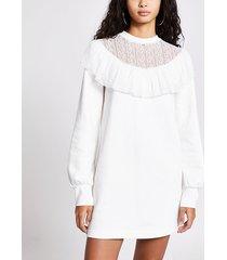 river island womens cream lace frill long sleeve sweatshirt dress