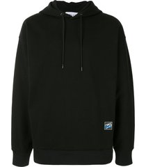 solid homme graphic print oversized hoodie - black