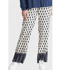 pantalon recto estampado azul curvi
