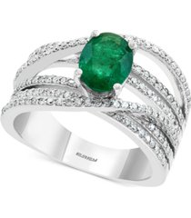 effy diamond (1/2 ct. t.w.) & emerald (1-1/8 ct. t.w.) ring in 14k white gold