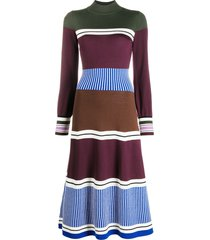 chinti and parker panelled wool knit dress - blue