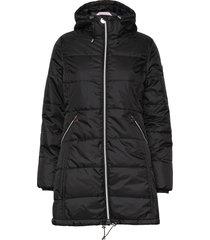 active padded coat gevoerde lange jas zwart röhnisch