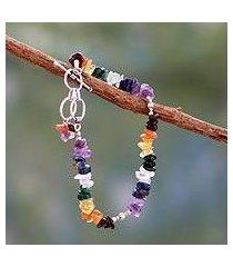 multi-gemstone chakra bracelet, 'rite of peace' (india)