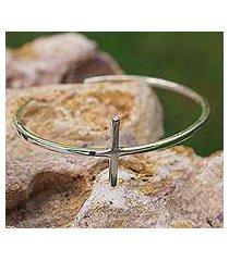 sterling silver cuff bracelet, 'contemporary cross' (mexico)