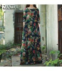zanzea mujeres de manga larga batwing dolman vintage estampado floral estilo chino algodón fiesta vestido largo largo baggy kaftan vestido tallas grandes azul marino -azul