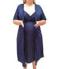 conjunto plus size linda gestante camisola de alcinha com robe maternidade