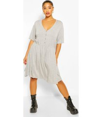 plus button through short sleeve smock dress, grey marl