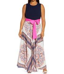 plus size women's eliza j sash scarf print sash waist maxi dress, size 16w - blue