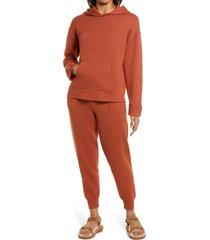 women's caslon sweater hoodie, size large - orange