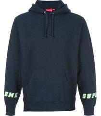 supreme logo cuff hoodie - blue