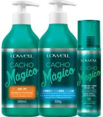 kit lowell cacho mágico shampoo + creme modelador + fluido
