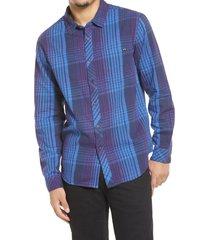 men's billabong coastline check flannel button-up shirt, size xx-large - blue