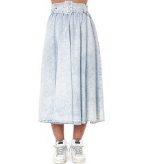 msgm light denim cotton long skirt