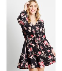 maurices womens black floral cozy tiered mini dress