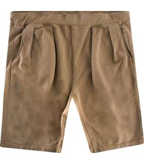 monitaly french terry pleated shorts | khaki | m29450-khk