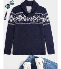 suéter de manga larga de punto con cuello embudo con patrón geométrico para hombre