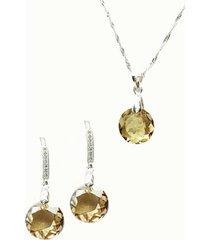 conjunto lunar con swarovski golden joyas montero