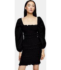 black shirred pop mini dress - black