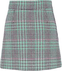 sandro women's tartan wool-blend mini skirt - fuchsia green - size 3 (l)