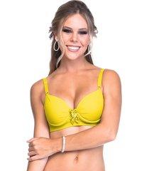 sutiã sempre sensual lingerie drapeado laços amarelo