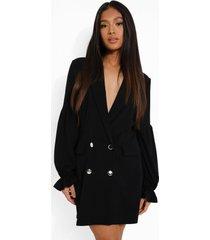 petite blazer jurk met pofmouwen, black