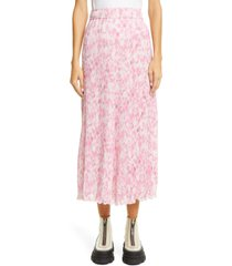 women's ganni floral plisse pleated georgette skirt, size 10 us - pink