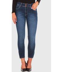 jeans wados tiro alto con cierre azul - calce ajustado